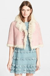 Women's Red Valentino Reversible Genuine Shearling Capelet Avorio