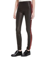 Haider Ackermann Leather Side Stripe Leggings Black Red Black Red