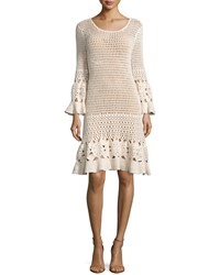 Michael Kors Long Sleeve Crochet Dress Vanilla White