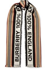 Burberry Fringed Intarsia Ribbed Cotton Scarf Black