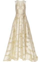 Lela Rose Metallic Fil Coupe Gown