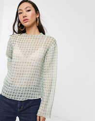 Glamorous Relaxed Top In Sheer Mini Check Green