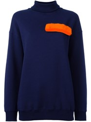 Msgm Fur Applique Sweatshirt Blue