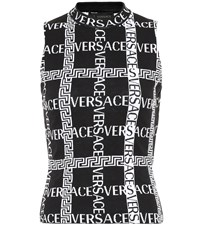 Versace Logo Stretch Cotton Sleeveless Top Black