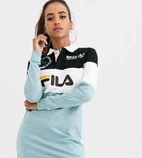 Fila Long Sleeve Rugby Shirt Dress In Colour Block Multi