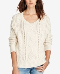 Denim And Supply Ralph Lauren Cable Knit Crew Neck Sweater Cream