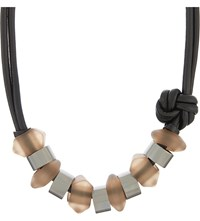 Armani Collezioni Beaded Leather Necklace Black Multi