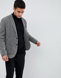 Selected Homme Patch Pocket Blazer With Raw Edge Details In Slim Fit Grey
