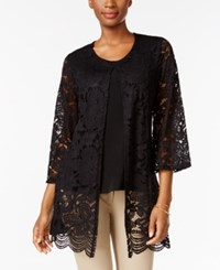 Jm Collection Lace Layered Look Top Only At Macy's Deep Black
