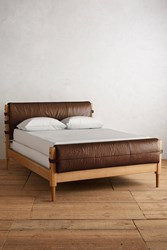 Anthropologie Premium Leather Rhys Bed Cocoa