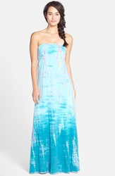 Hard Tail Long Strapless Dress Aqua Berry Tie Dye