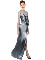 Nina Ricci Knotted Silk Satin And Lace Dress
