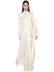 Lanvin Bow Tie Silk Cady Long Dress