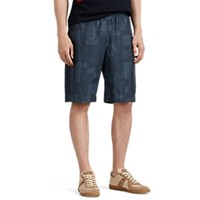 Paul Smith Sketch Pattern Cotton Shorts Navy