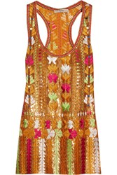 Etro Embroidered Sequined Silk Chiffon Top Orange