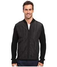 Kenneth Cole Nylon Quilted Moto Jacket Black Men's Coat