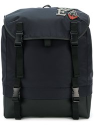 Emporio Armani Embroidered Patch Detail Backpack Black