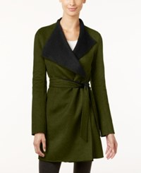 Calvin Klein Layered Collar Belted Wrap Coat Loden Black