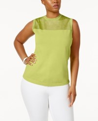 Anne Klein Plus Size Sheer Yoke Shell Sweater Sprout
