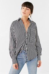 House Of Sunny 802 Striped Button Down Top Black White