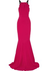 Roland Mouret Levitha Grosgrain Trimmed Stretch Crepe Gown Fuchsia