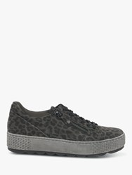Gabor Novello Zip And Laces Flatform Low Top Leather Trainers Anthracite