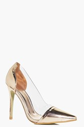 Boohoo Clear Side Pointed Court Rose Gold