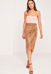 Missguided Faux Suede Wrap Midi Skirt Nude Brown