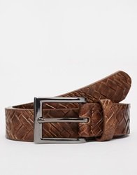 New Look Faux Leather Belt With Woven Detail Brown