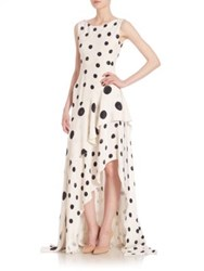 Oscar De La Renta Polka Dot Silk Gown Black White