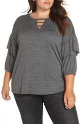 Wit And Wisdom Plus Size Ruffle Sleeve Top Charcoal