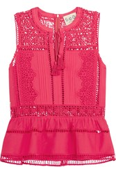 Sea Crochet Paneled Cotton Voile Peplum Top Fuchsia