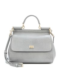 Dolce And Gabbana Sicily Embossed Leather Shoulder Bag Grey