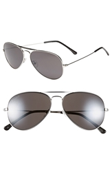 Converse 58Mm Aviator Sunglasses Silver Mirror