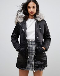 Lipsy Satin Parka With Velvet Trim And Faux Fur Hood Black