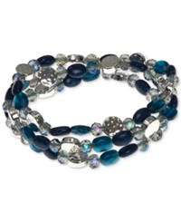 Nine West Silver Tone Multi Bead Three Row Stretch Bracelet Blue