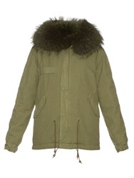 Mr And Mrs Italy Fur Lined Canvas Mini Parka Khaki