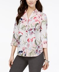 Jm Collection Linen Printed Roll Tab Shirt Created For Macy's Tropic Toss