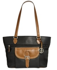 Giani Bernini Pebble Leather Tote Natural Black