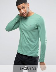 Tommy Hilfiger Long Sleeve Top Flag Logo In Green Exclusive To Asos Frosty Spruce