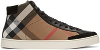 Burberry Black Painton Check High Top Sneakers