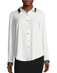 Karl Lagerfeld Lace Trimmed Long Sleeve Button Down Blouse Soft White