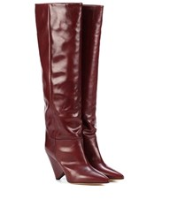Isabel Marant Lokyo Leather Knee High Boots Red