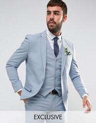 Only And Sons Skinny Wedding Suit Jacket Blue