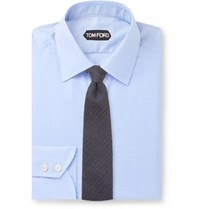 Tom Ford Blue Slim Fit Prince Of Wales Checked Cotton Shirt Blue