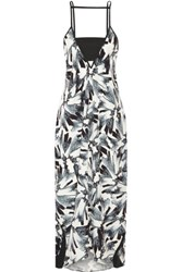 Flagpole Swim Erica Printed Crepe De Chine Dress Black