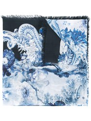 Roberto Cavalli Multiple Prints Scarf Blue