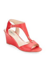 Karl Lagerfeld Affre Leather T Strap Wedge Sandals Red
