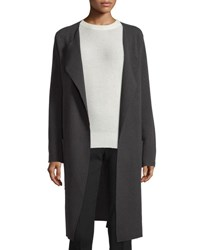 Joseph Long Wool Wrap Coat Gray Midnight Blue