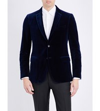 Salvatore Ferragamo Slim Fit Velvet Jacket Royal Blue